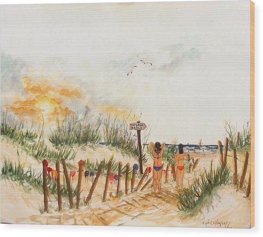 Topless Beach Wood Print