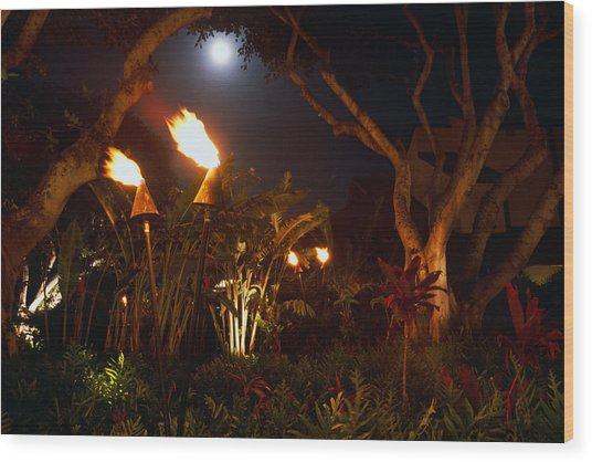Torches Of Hawai Wood Print by George Oze