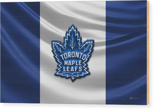 Toronto Maple Leafs - 3d Badge Over Flag Wood Print