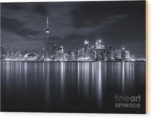 Toronto Skyline Monochrome Wood Print by Matt  Trimble