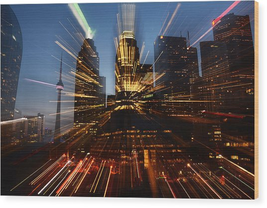 Toronto Skyline Streaks Wood Print