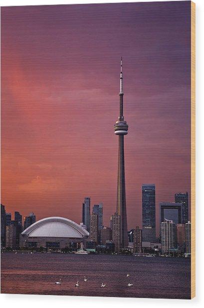 Toronto Sunset Wood Print