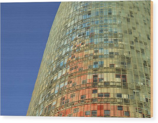 Torre Agbar Abstract Wood Print