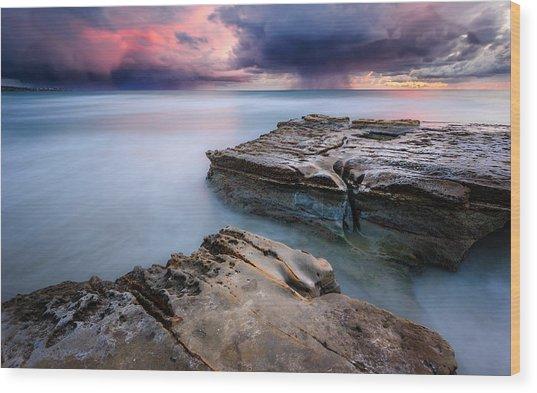 Torrey Pines - Flat Rock Storm Wood Print