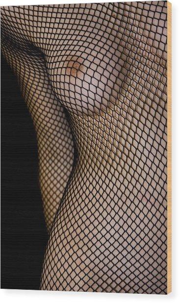 Torso In Fish-net Wood Print