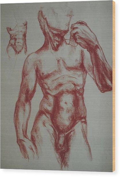 Torso Of  Michelangelo   David  Wood Print by Chris  Riley