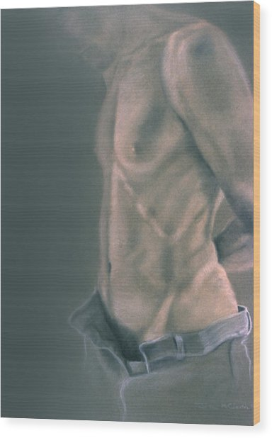 Torso With Jeans Wood Print by John Clum