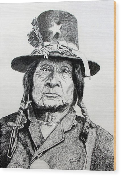 Tosawi Comanche Chief Wood Print by Stan Hamilton