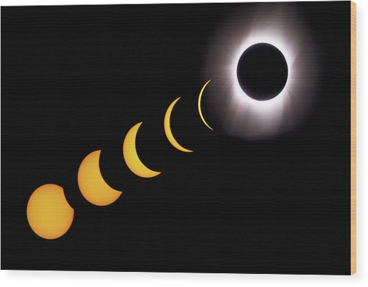 Total Eclipse Sequence, Aruba, 2/28/1998 Wood Print