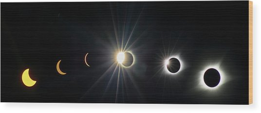 Total Solar Eclipse Sequence Wood Print