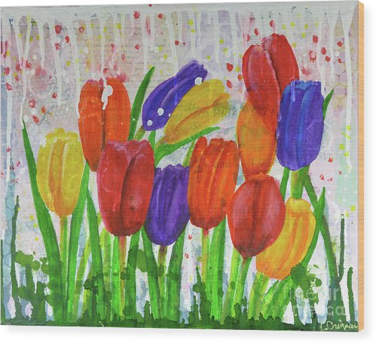Totally Tulips Wood Print