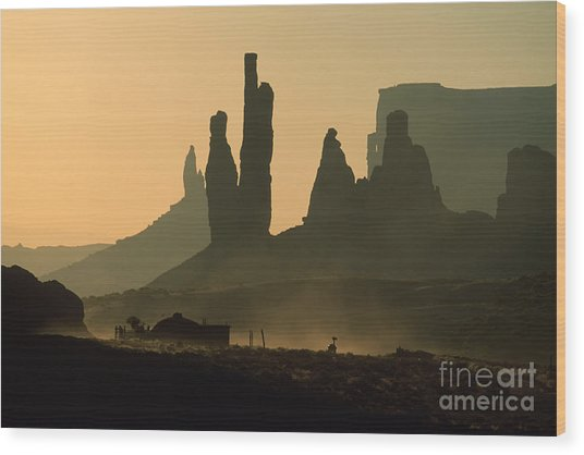 Totems At Sunrise Wood Print by Stan and Anne Foster