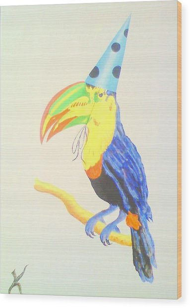 Toucan With  Party Hat Wood Print by Roger Golden