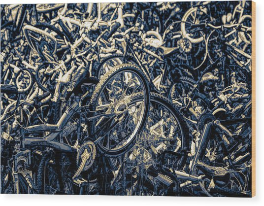 Tour De Crash Wood Print