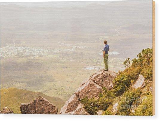 Tourist On The Tip Of Western Tasmania Wood Print