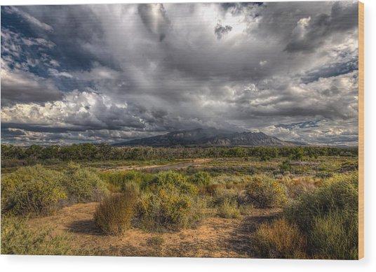 Towards Sandia Peak Wood Print