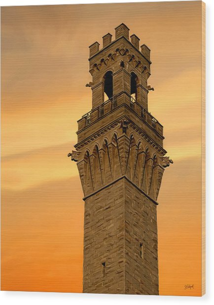 Tower Aglow Wood Print