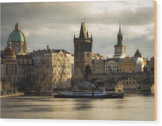 Tower And Churches Adjacent To Charles Bridge Wood Print by Marek Boguszak