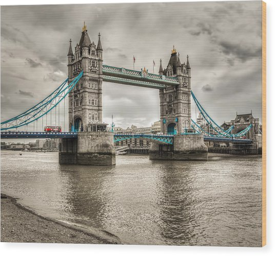 Tower Bridge In London In Selective Color Wood Print