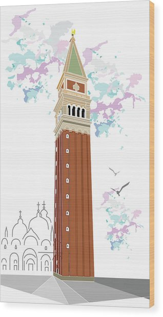 Tower Of Campanile In Venice Wood Print
