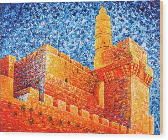 Wood Print featuring the painting Tower Of David At Night Jerusalem Original Palette Knife Painting by Georgeta Blanaru