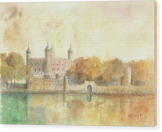 Tower Of London Watercolor Wood Print