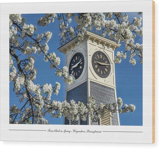 Town Clock In Spring Wood Print