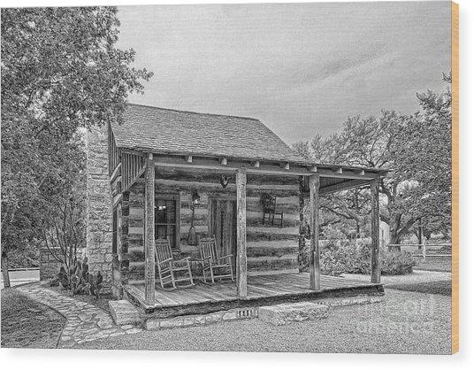 Town Creek Log Cabin Wood Print