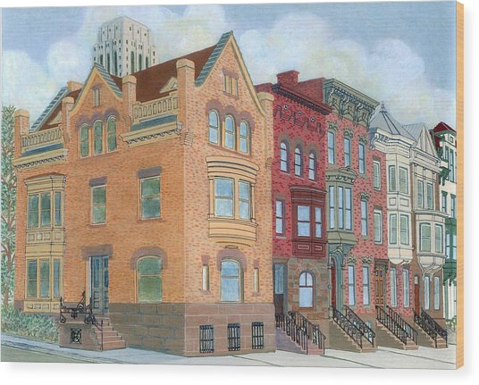 Townhouses Wood Print by David Hinchen