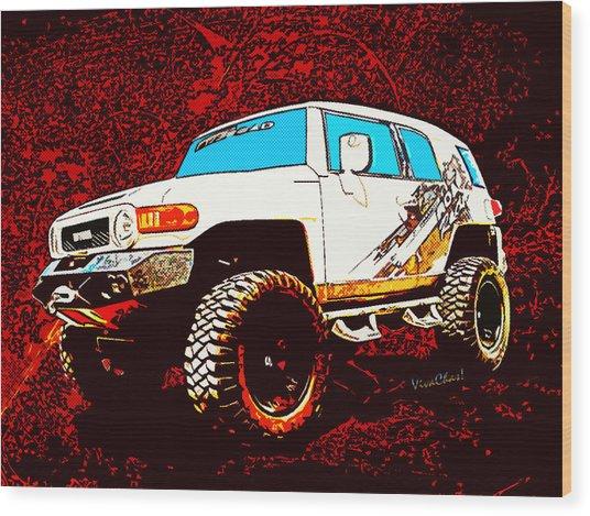 Toyota Fj Cruiser 4x4 Cartoon Panel From Vivachas Wood Print