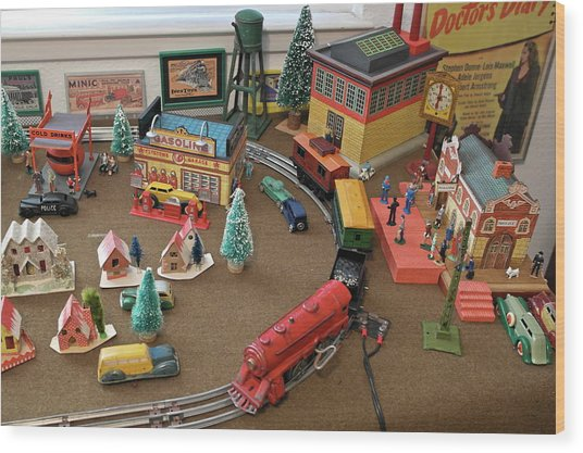 Toytown - Train Set Overview Wood Print