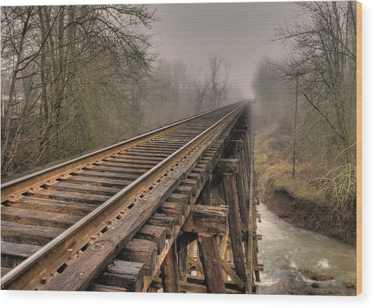 Track To Some Where Wood Print by Peter Schumacher
