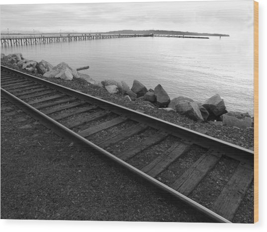 Tracks And Pier Wood Print