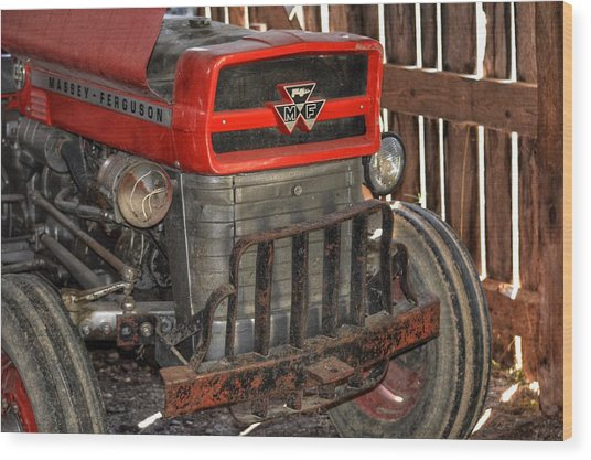 Tractor Grill  Wood Print