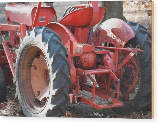 Tractor Wood Print by Peter  McIntosh