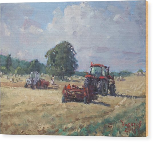 Tractors In The Farm Georgetown Wood Print