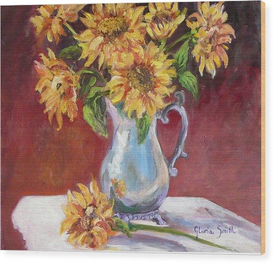 Tracy's Sunflowers Wood Print