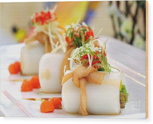 Traditional Chinese Hakka Rice Noodle Roll Wood Print