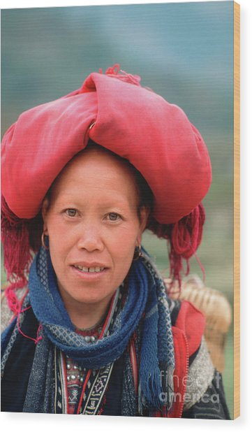 Traditional Fashion Of A Red Dzao Woman Wood Print