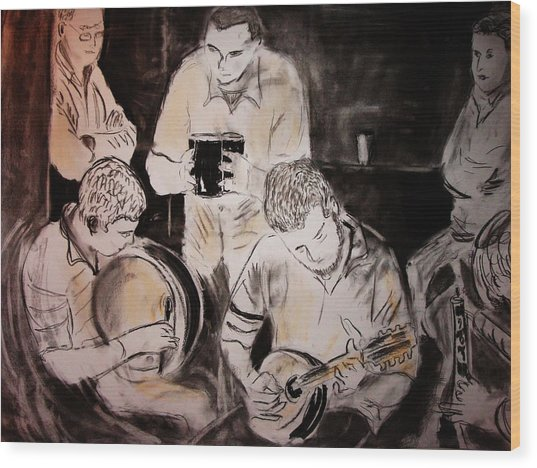 Traditional Irish Music Session Wood Print by Gerard Dillon
