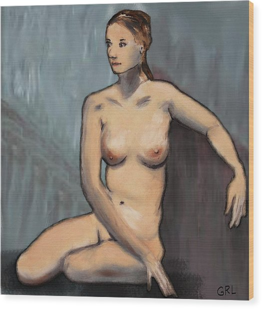 Traditional Modern Female Nude Seated Wood Print