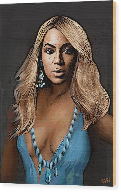 Traditional Modern Original Painting Beyonce In Turquoise Wood Print