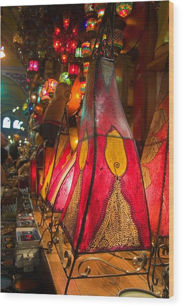 Traditional Oriental Skin Lamps In Istanbul  Grand Bazar Wood Print