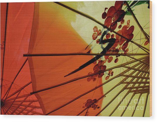 Traditional Red And Yellow Umbrellas Wood Print by Sami Sarkis