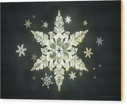 Traditional Sunlight Snowflakes Wood Print
