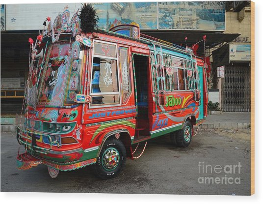 Traditionally Decorated Pakistani Bus Art Karachi Pakistan Wood Print