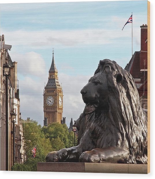 Trafalgar Square Lion With Big Ben Wood Print