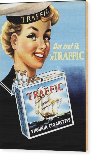 Wood Print featuring the digital art Traffic Cigarette by Reinvintaged