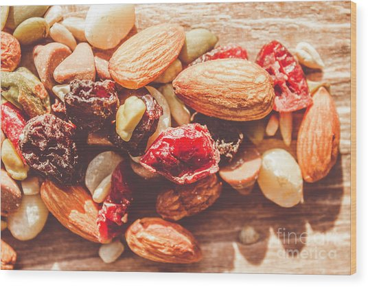 Trail Mix High-energy Snack Food Background Wood Print