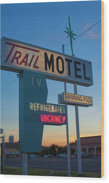 Trail Motel At Sunset Wood Print
